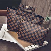 Трендовая сумка и клатч LV квадраты