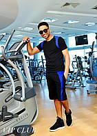 Мужской двухцветный костюм для спорта, шорты/футболка.