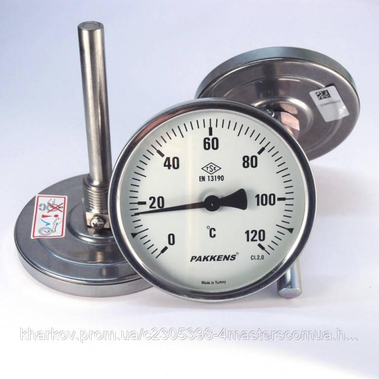 Термометр 0 120°С с погружной гильзой 10 см Ø63, Pakkens Турция