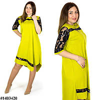 Желтое платье 1403420, большого размера