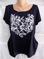 Женская футболка большой размер розы 52/54 СП