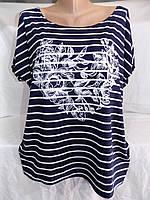 Женская футболка большой размер розы 50/54 СП