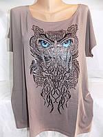 Женская футболка большой размер сова 52/54 СП