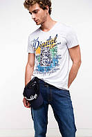 Чоловіча футболка De Facto білого кольору з малюнком на грудях, фото 1