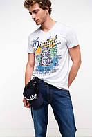 Мужская футболка De Facto белого цвета с рисунком на груди, фото 1