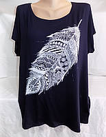 Женская футболка большой размер перо 54/56 СП