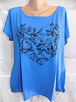 Женская футболка большой размер розы 54/56 СП