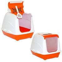 Закрытый туалет для кошек,с откидной крышкой, Moderna МОДЕРНА ФЛИП КЭТ ДЖУМБО, 58х45х42 см, оранжевый