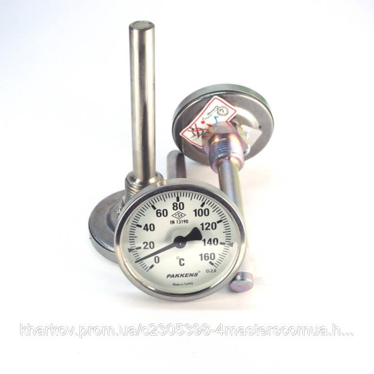 Термометр 0 160°С с погружной гильзой 10 см Ø63, Pakkens Турция