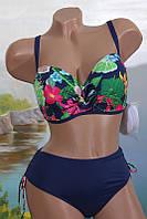 Женский раздельный купальник 35923 с цветочным лифом
