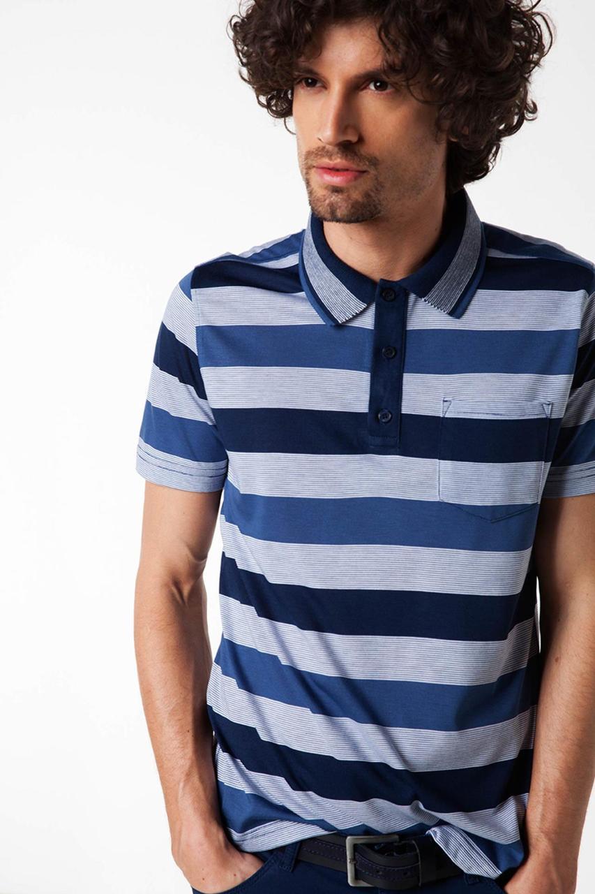 Чоловіче поло De Facto в синьо-блакитні смужки