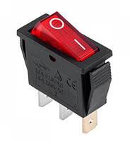 Переключатель IRS-101-1B красный, узкий PRK0007B (3 контакта, с подсветкой, 15A 250V AC) KCD3-102