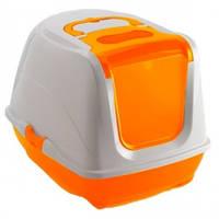 Закрытый туалет для кошек,с откидной крышкой, Moderna МОДЕРНА ФЛИП КЭТ, 50х39х37 см, оранжевый