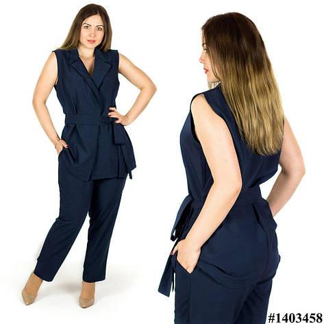 Темно-синий костюм 1403458, большого размера, фото 2