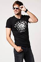 Мужская футболка De Facto черного цвета с рисунком и надписью на груди