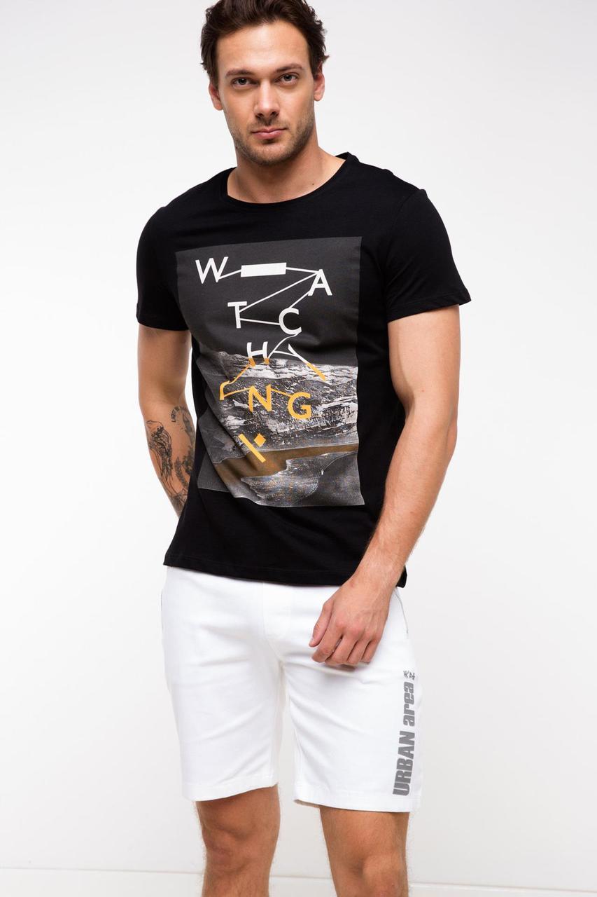 Мужская футболка De Facto черного цвета с картинкой на груди