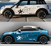 Виниловая наклейка для машины 3D star звезды белые, фото 1