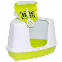 Закрытый туалет для кошек, угловой, Moderna МОДЕРНА ФЛИП КЭТ, 56х45х39 см, ярко-зеленый