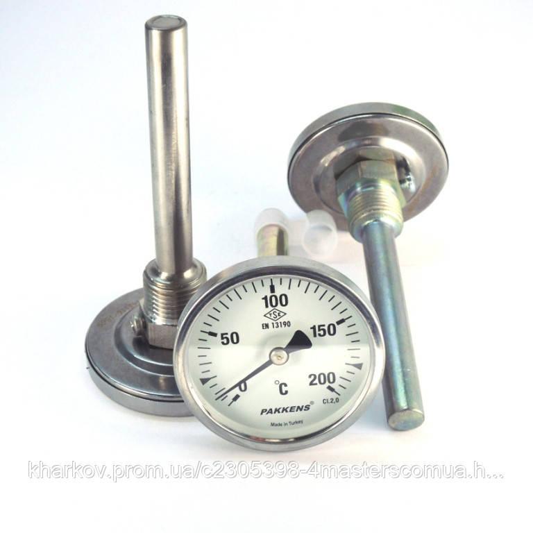 Термометр 0 250°С с погружной гильзой 10 см Ø63, Pakkens Турция