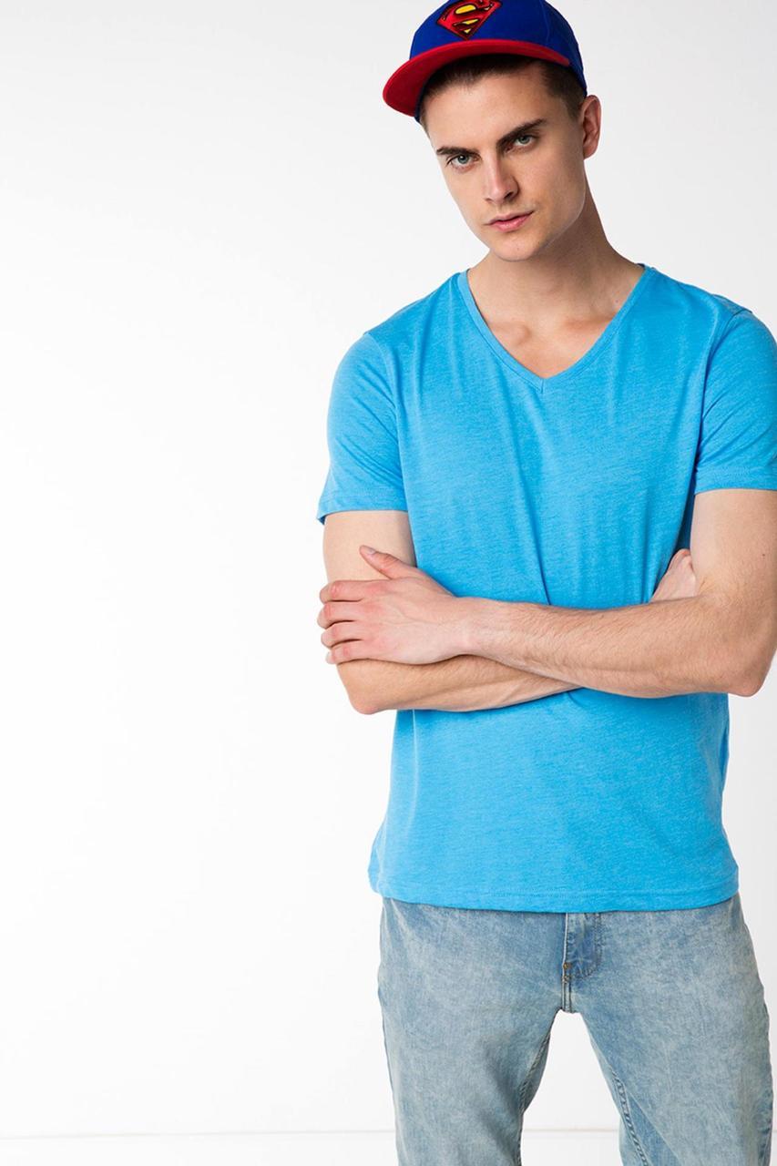 Мужская футболка De Facto голубого цвета