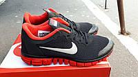 Мужские беговые кроссовки фри ран черные с красным, фото 1