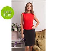 Платье-Костюм комбинированное юбка и блузка ,5 цветов, размеры 42 44 46 48