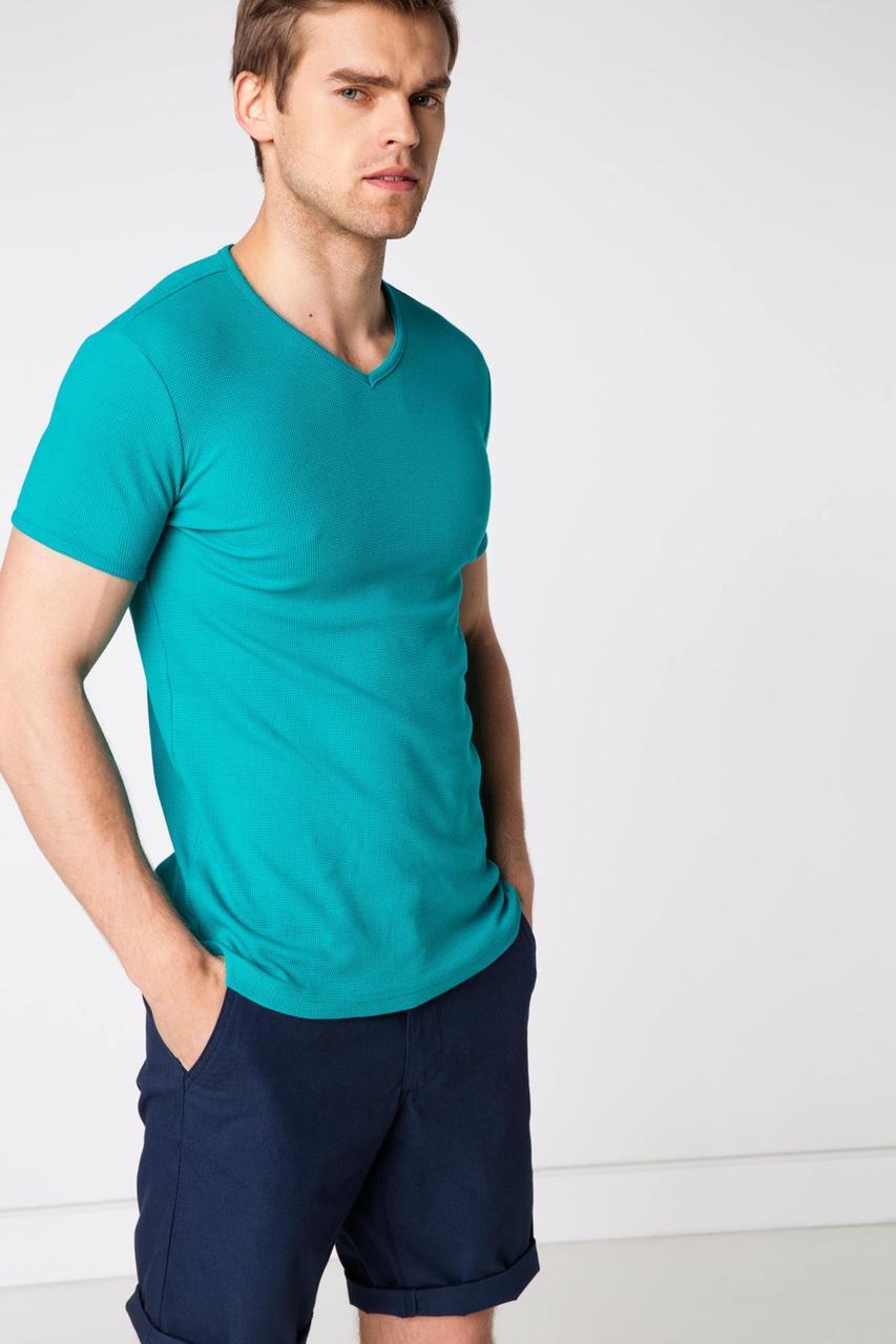 Мужская футболка De Facto бирюзового цвета