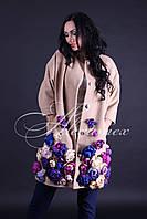 Пальто из кашемира  с цветами