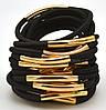 Резинка для волос черная с золотом, фото 2