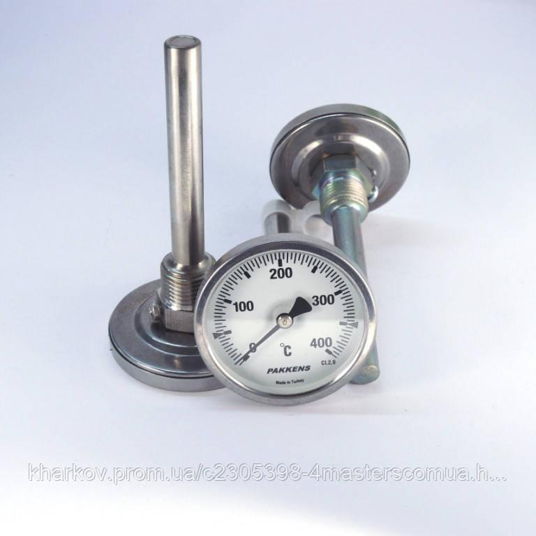 Термометр 0 400°С с погружной гильзой 10 см Ø63, Pakkens Турция