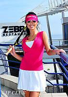 Спортивное двухцветное платье с заниженной талией.