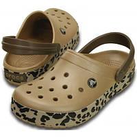 Кроксы женские шлепанцы Крокбенд Леопард Сабо оригинал / Crocs Crocband Leopard Clog