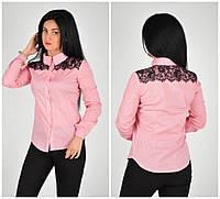 Красивая нарядная розовая блуза с гипюром 42.44.46.48