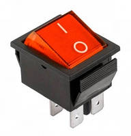 Переключатель  IRS-201-1A крас. широкий  PRK0006B (4 контакта, без подсветки, 16A 250V AC, 20A 125V AC) KCD4
