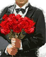 """GX 8046 """"Красные розы""""  Роспись по номерам на холсте 40х50см без коробки, в пакете"""