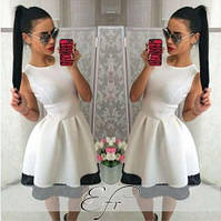Платье мини женское, пышное платье от груди, платье с кружевом по низу. Разные размеры и цвета.