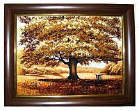 """Картина """"Дуб"""", пейзаж из янтаря в подарок"""