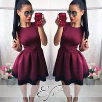Платье мини женское, пышное платье от груди, платье с кружевом по низу. Разные размеры и цвета., фото 1