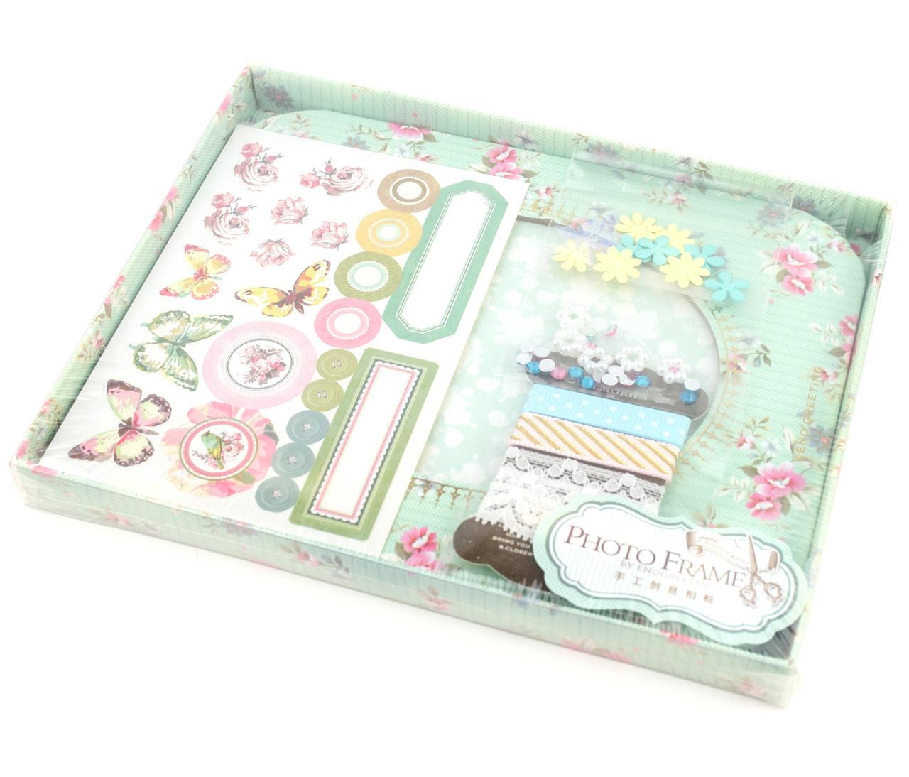 Набор для скрапбукинга фоторамка мятная с цветами и бабочками