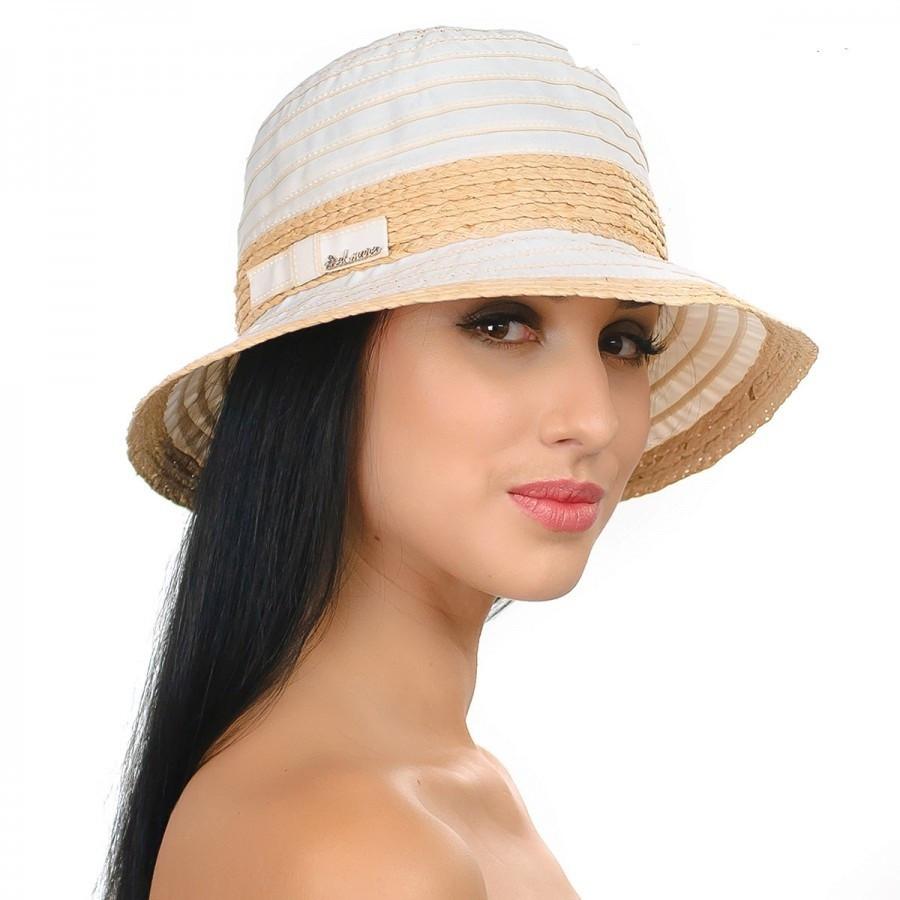 Летняя текстильная  шляпа с элементами соломки персиковая и бирюзовая
