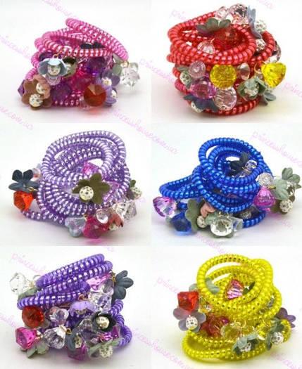 Резинка спираль силиконовая с цветами