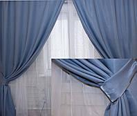 Комплект готовых однотонных штор из крепсатина , цвет голубой 085ш