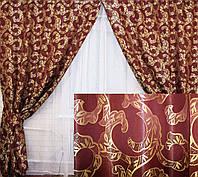Комплект готовых штор бордовый  089ш