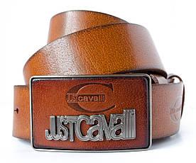 Коричневий джинсовий чоловічий шкіряний ремінь зі стильною оригінальною пряжкою в стилі Just Cavalli