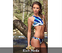 Женский раздельный купальник  топ+плавки. Ткань: бифлекс. Размер: 42,44,46. Цвет: белый с синим.