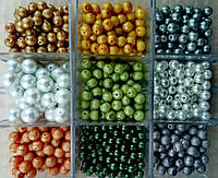 Бусины под жемчуг 1000 грамм. Одного вида по 25 грамм в упаковке. 40 упаковок