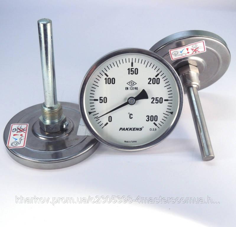 Термометр осевой 0 300°С с погружной гильзой 10 см Ø100, Pakkens