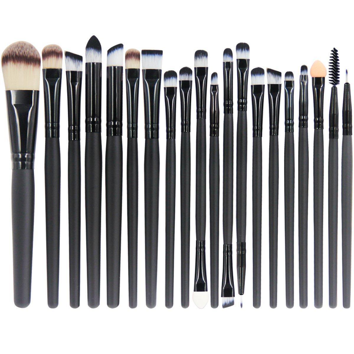 Набор из 20 профессиональных кистей для макияжа черный