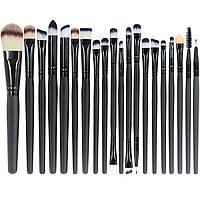 Набор из 20 профессиональных кистей для макияжа черный, фото 1