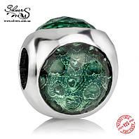 """Серебряная подвеска-шарм Пандора (Pandora) """"Зеленая солнечная капелька"""" для браслета"""